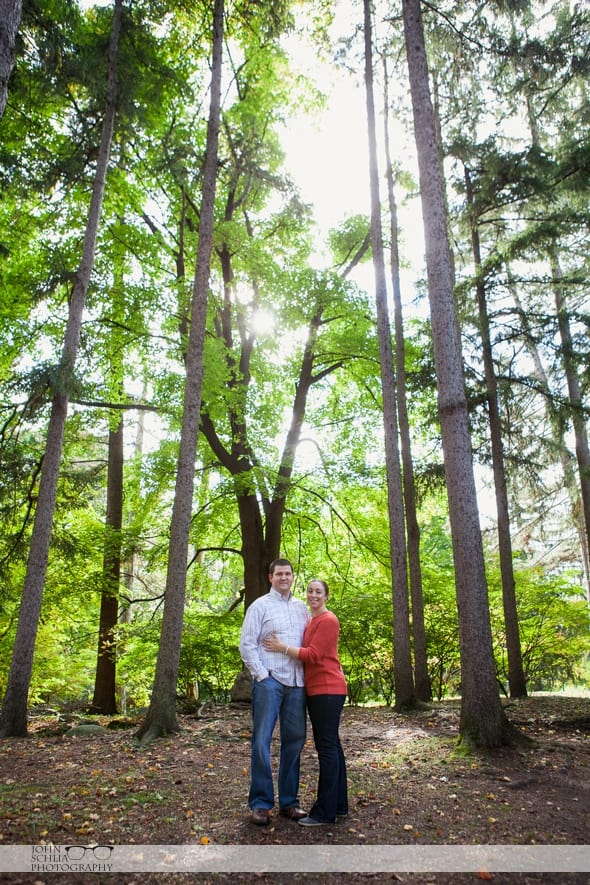 engagement photo in forest