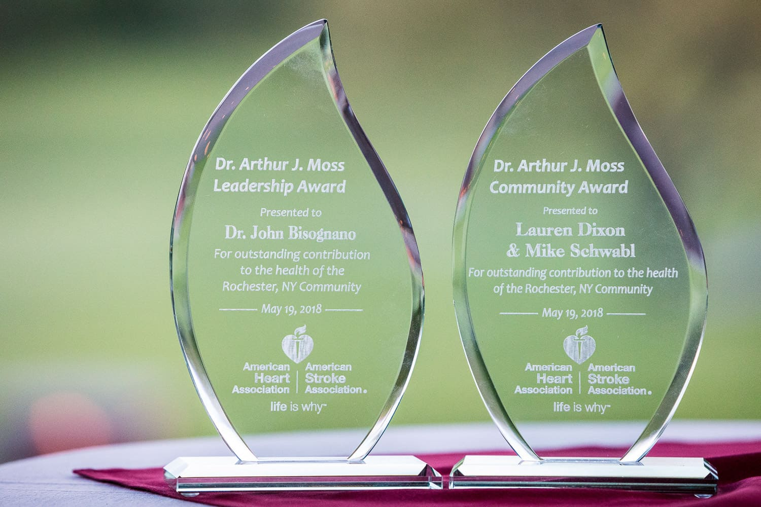 Event photograph of awards to be given out at American Heart Association Heart Ball.