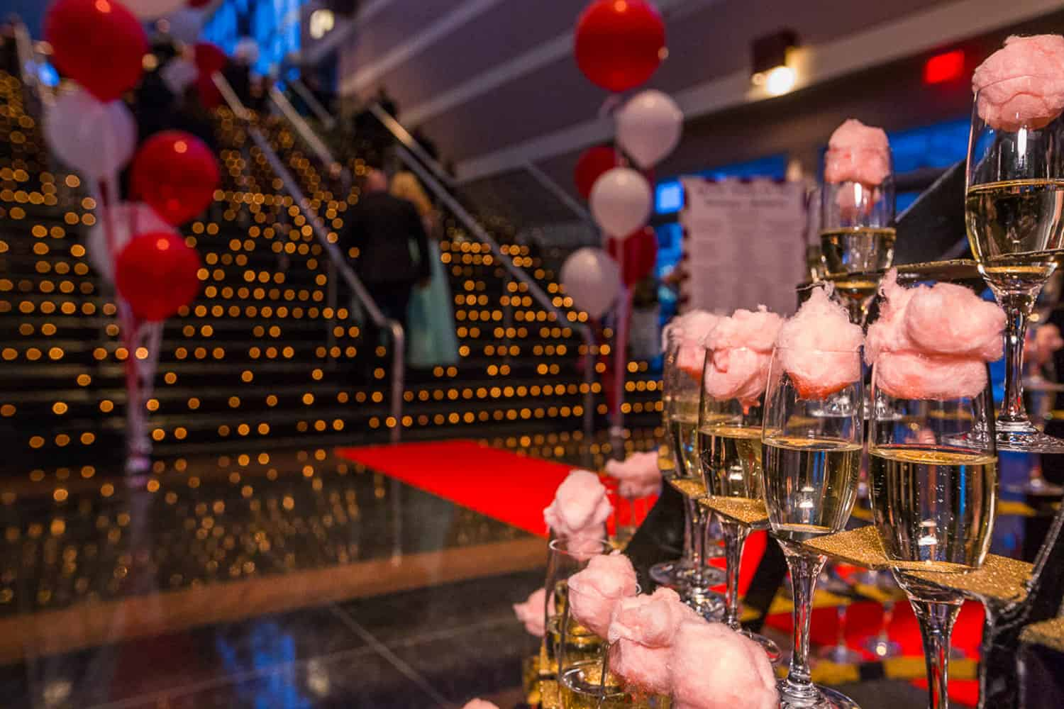 Event Photographer of cotton candy in champagne at Golisano Children's Hospital Gala.