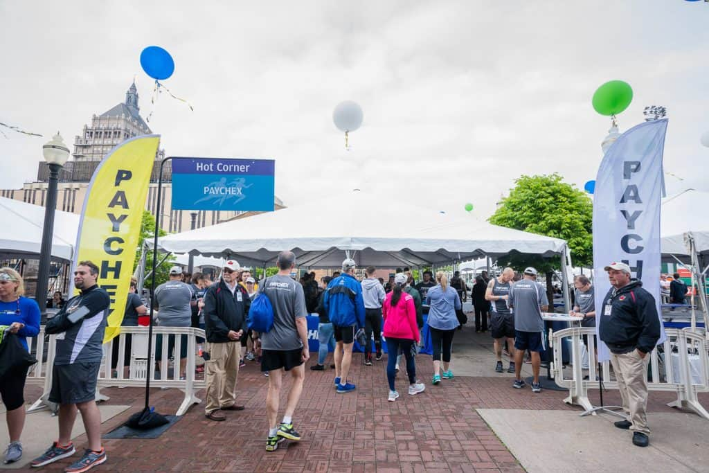 Event photography of the Paychex team at the Chase Corporate Challenge.