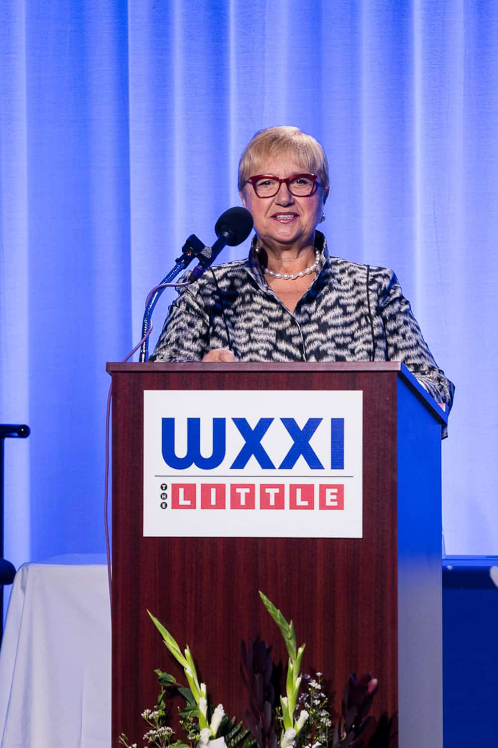 lidia bastianich speaks at a wxxi event.