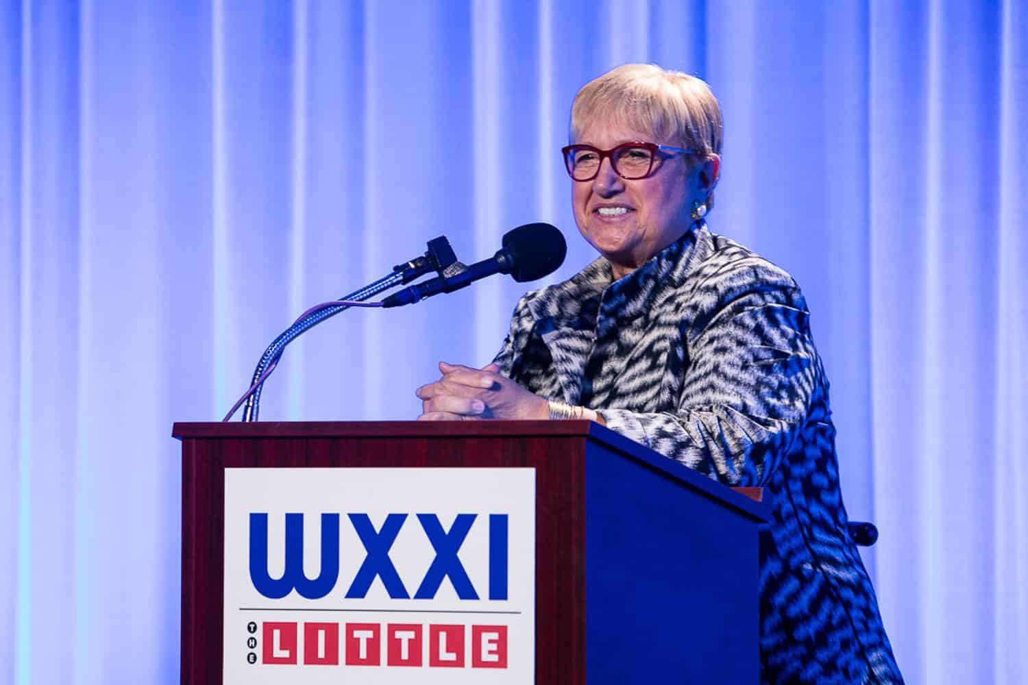 Photo of lidia bastianich speaking at wxxi event.