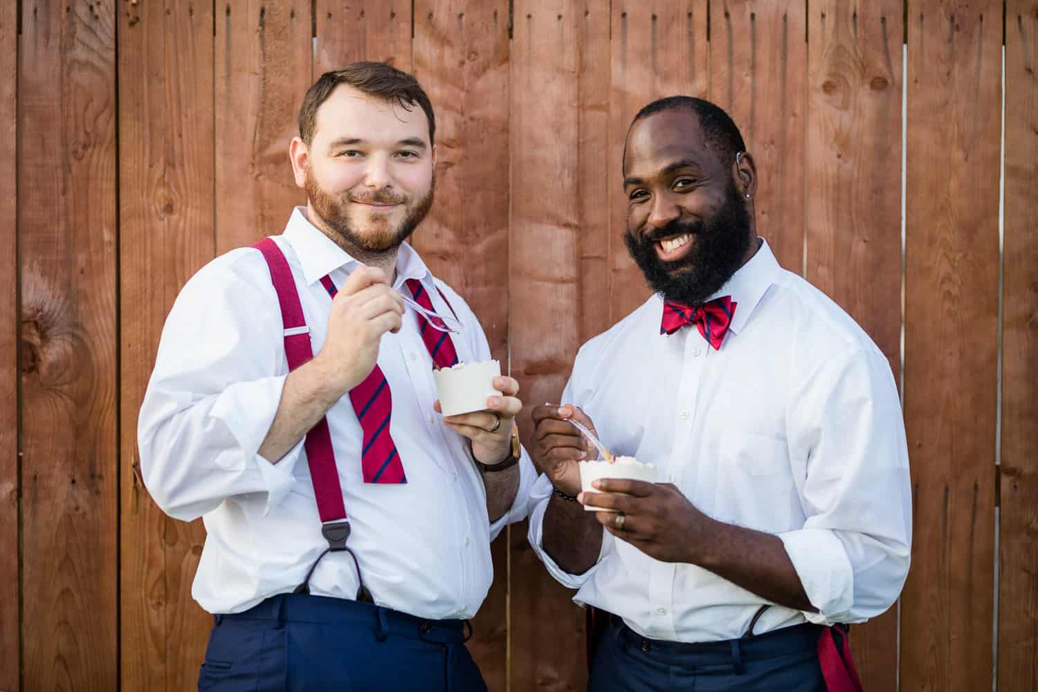 Wedding pictures with ice cream at Twin Silos Barn.