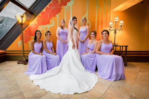 A formal portrait of a bride and her bridesmaids before the wed