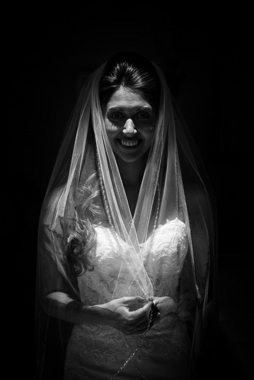 A black and white bridal portrait at Woodcliff Hotel.