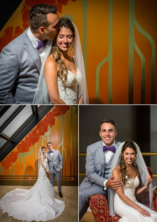 A gorgeous wedding couple in Rochester at Woodcliff Hotel.