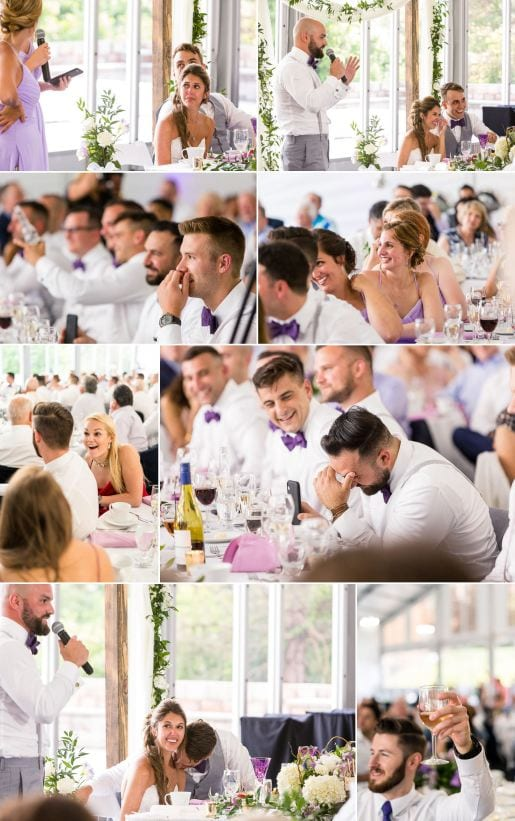 Wedding speeches and reactions at Woodcliff Hotel.
