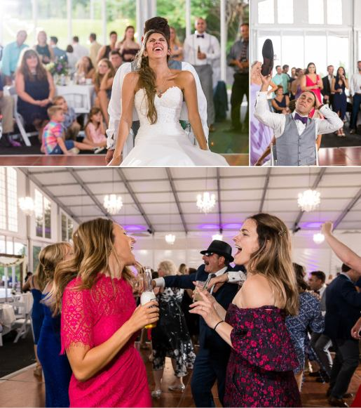 Wedding guests dance at Woodcliff Hotel.