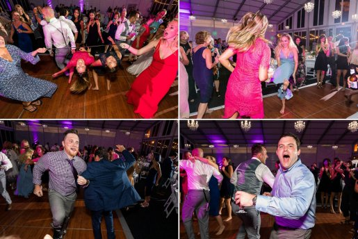 Crazy wedding dancing at Woodcliff Hotel.
