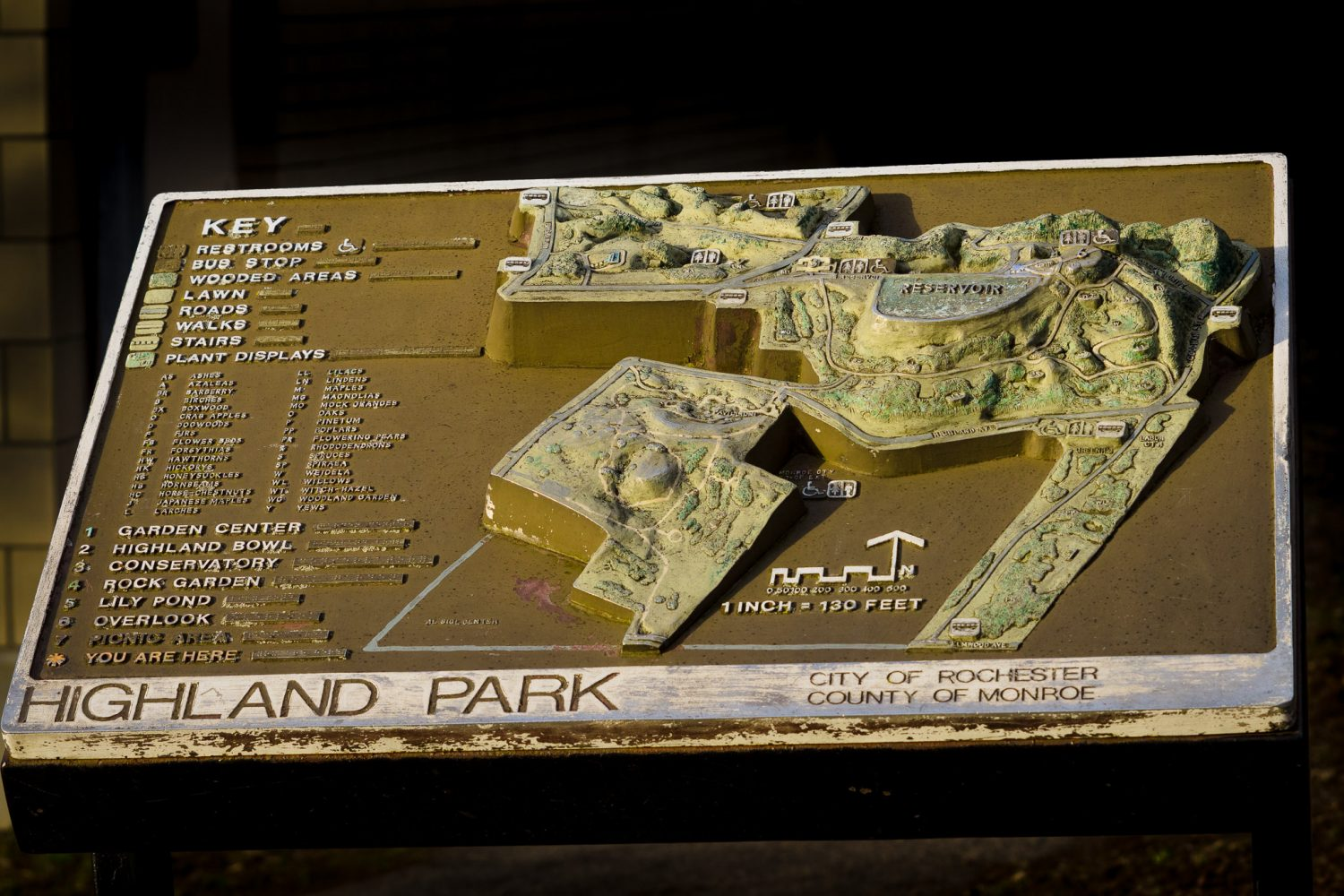 A map of Highland Park in Rochester, NY.